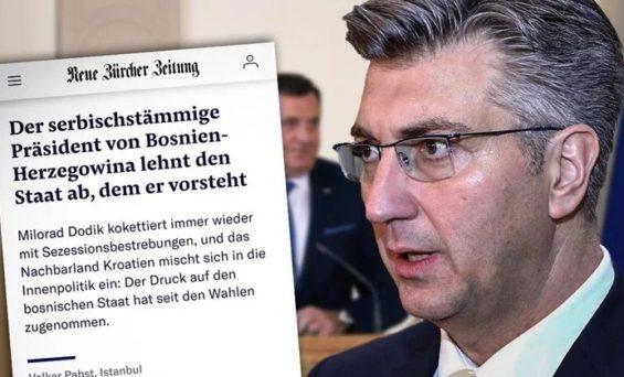 Švicarski list optužuje Plenkovića da s Dodikom ugrožava BiH